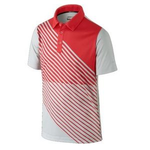 NIKE Youth Boys Golf Dry Fit Red Striped Polo